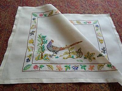 Superb Vintage Hand Embroidered Table Centre~Pheasant & English Country Hedgerow