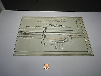 Vintage  Lehigh Valley  Railroad Map Waverly NY 1907 Proposed Siding  LVRR