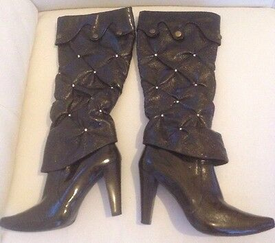Great Ladies JOLIVIA Patent Brown Boots. Gorgeous! Size 38 (UK 5)