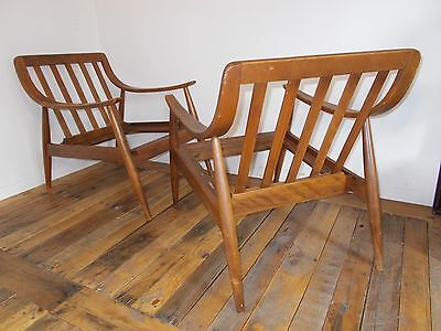 TWO Vtg DANISH CHAIRS MCM Mid Century Modern Teak Sculptural Arms Lounge LABEL