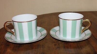 Bernardaud Galerie Royale – Amande (Light Green)Two Flat Cups and Two Saucers