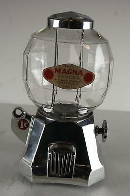 1934 Magna Vender Vending Machine Vendor Works On A Penny Cent Gum Gumball Nut