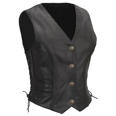 New Women's Black Leather Side-Lace Motorcycle Biker Vest Braided 4 - 24