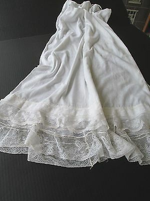 Antique Edwardian Womens Petticoat With Bobbin Lace Flounce...white