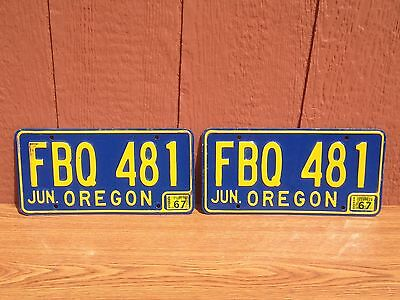Vintage 1967 Oregon License Plate Pair Original 67 Plates Old Classic Muscle Car