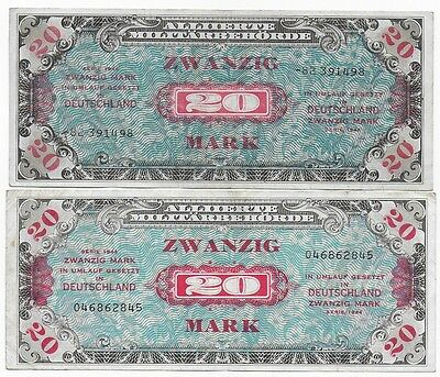 Germany Allied Currency Lot 2 X 20 Mark 1944