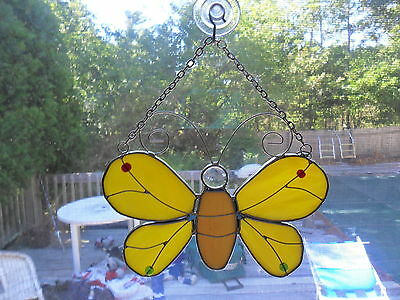 Stained Glass Yellow Butterfly Suncatcher