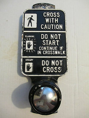 Vintage Black Metal Push Button Cross With Caution Traffic Sign Signal Switch
