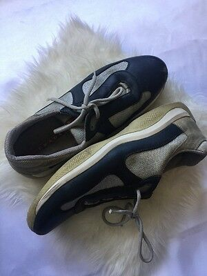 Prada Men's Size 12.5 Blue Leather Silver Mesh Athletic Sneakers Fashion Shoes