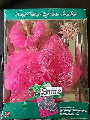 1990 Happy Holidays Barbie Doll Special Edition pink dress w ornament New in box