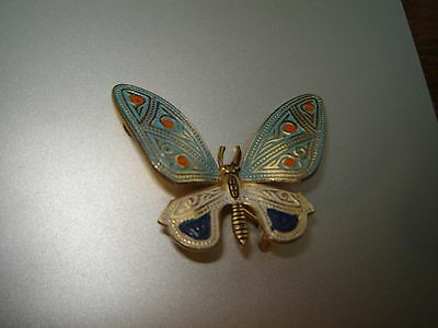 Vtg Large Gold Tone Painted Damascene Butterfly Bug Insect Brooch Pin Spain