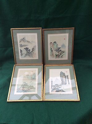 4 framed Chinese landscapes on silk