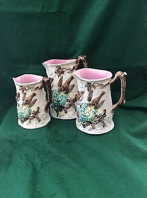 3 Victorian graduated Wileman jugs (9 to 6.5 inches)