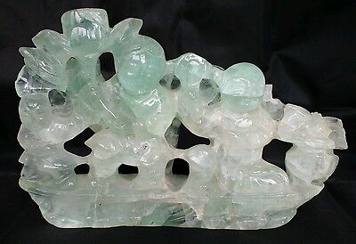 Antique Chinese carved Fluorite figural group of boys on a boat superb