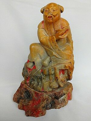 Chinese Soapstone Carving Of An Immortal On A Rocky Base - Remains Of Pigment