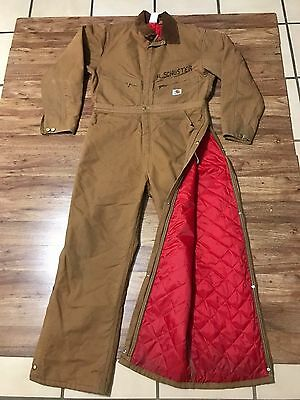 Mens Vtg Carhartt 996QZR Duck Quilted Insulated Industrial Work Coverall 42 USA