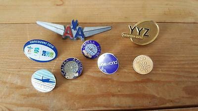 8 x Vintage Aviation Pins - American Airlines, British Airways, Canada Olympics