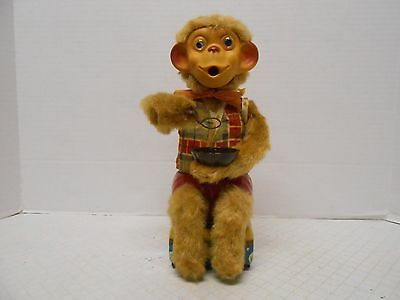 Alps Bubble Blowing Monkey Battery Operated Tin Japan Toy w/ Lighted Eyes WORKS