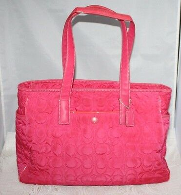 COACH PINK QUILTED BABY DIAPER BAG MULTI-FUNCTION AUTHENTIC TOTE no pad