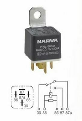 Narva 68044Bl Relay  5 Pin 12 Volt 30 40 Amp Change Over Type