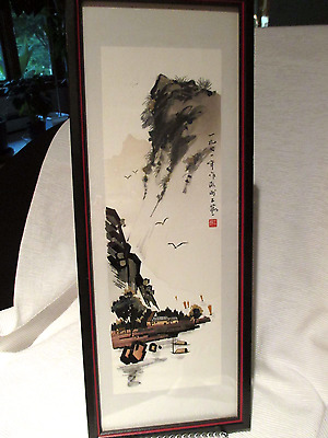 Vintage Chinese Original Brush Ink Watercolor Scene Painting With Artist Seal