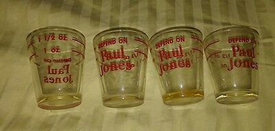 "Vintage LOT of 4 ""DEPEND on PAUL JONES"" WHISKEY SHOT GLASSES--1 oz, 1.5 oz marks"