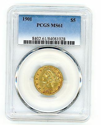 1901  $5 Gold Liberty Head Half Eagle Pcgs Ms61