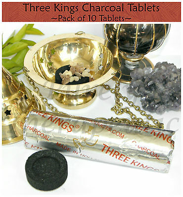 3x THREE KINGS CHARCOAL TABLETS BLOCKS~PACK OF 10 TABLETS~3 Kings~Resin~Incense