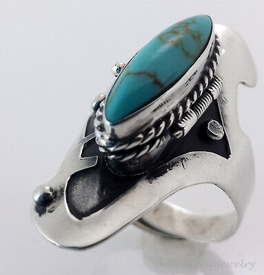 Vintage Style Poison Ring Taxco Mexican Sterling Silver & Turquoise - Adjustable