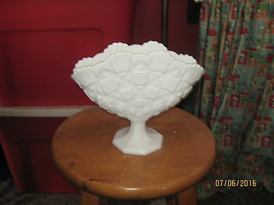 Vintage Westmoreland Old Quilt Milk Glass Fan Vase