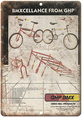 "10"" x 7"" Metal Sign - Greg Hill BMX, Freestyle, GHP - Vintage Look Reproduction"