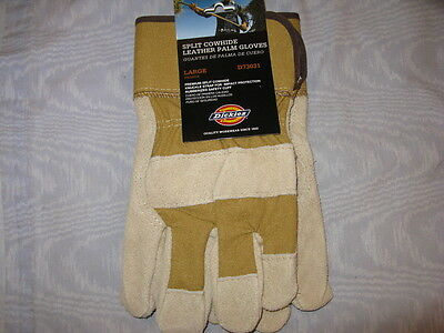 Dickies Leather & Canvas Work Gloves, Men'S L, New