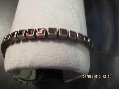 Vintage Silver Costume Jewelry Bracelet Fancy Nice! Set Red Stones