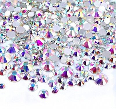 450 Pcs 2mm - 6mm Resin Crystal AB Round Nail Art Mixed Flatbacks Rhinestones ~