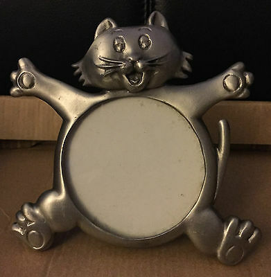 Vintage Pewter Kitty Cool Cat Kitten Figural Photograph Picture Table Frame-70s!