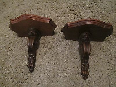 Pair Vtg Syroco Wood HANGING Wall Shelves -Scroll design - Mid Century Set of 2