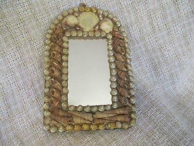 """Antique Sailors Valentine Shell Art - Small Arched Mirror 7""""x4""""   ro"""