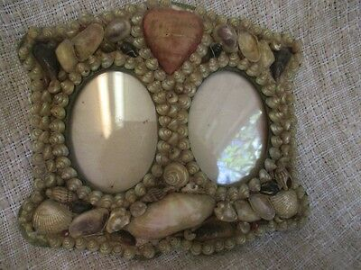 Antique Sailors Valentine Shell Art Small Double Picture Frame   ro