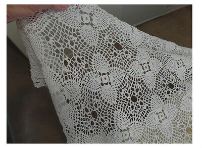 Vintage  White Crocheted tablecloth   fancy design