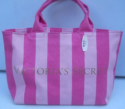 Victoria's Secret Pink Striped Medium Weekender Canvas Tote Beach Bag