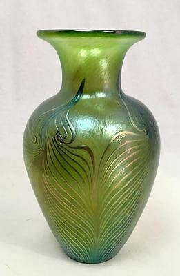 "Robert Held Studio Art Glass Pulled Feather Vase, Green & Gold, Signed, 7"" Tall"