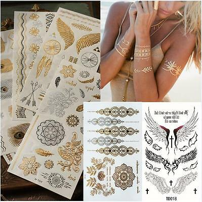 DIY Waterproof Temporary Tattoos Stickers Body Art Gold Silver Metallic Flash UK