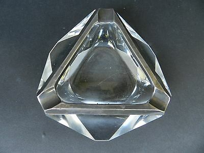 Vintage Glass Sterling Silver Triangle Ashtray