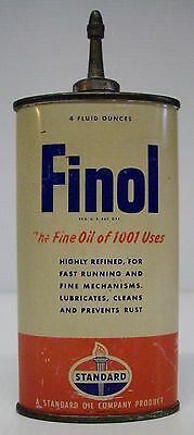 Empty Vintage Standard Oil FINOL Handy Oil 4oz CAN with Lead Spout and Cap