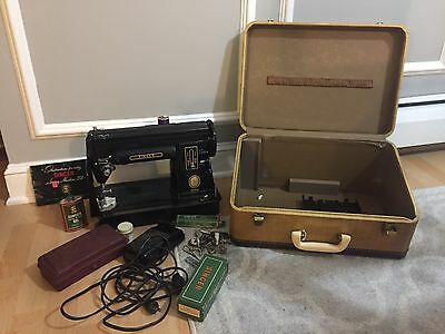 Vintage Singer 301A Sewing Machine W/Accessories & Case 1953 USA