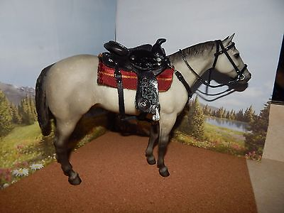 Cm Leather Saddle For Traditional Breyer Horses & Matching Bridle & Martingale