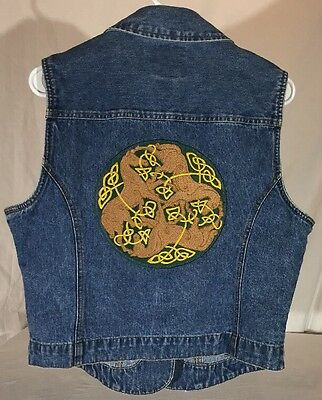 Vintage St. John's Bay Denim Vest Embroidered Celtic Knotwork Horses Circle M