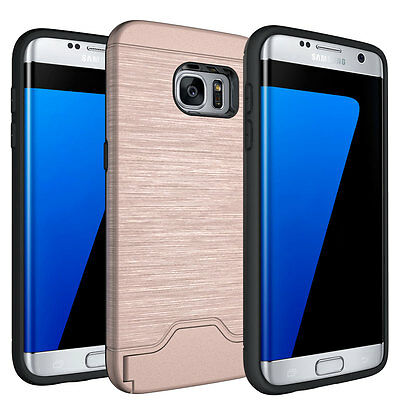 For Samsung Galaxy S8 Phone Case Kickstand Credit Card Hard Cover Rose Gold