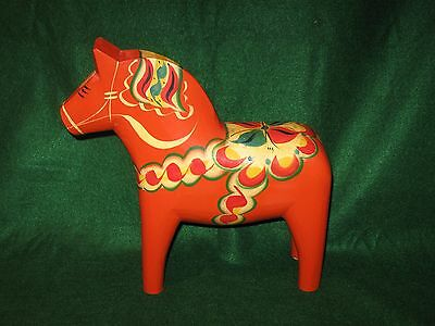 "Large (12"")Very Impressive Red Swedish Dala Horse by G.A. Olssen"