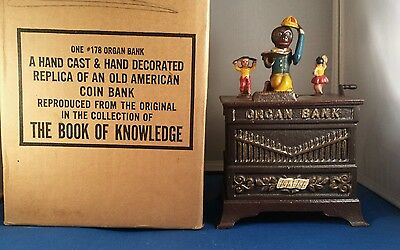 Rare 1950's Book Of Knowledge Kyser & Rex Organ Bank Mechanical Cast Iron Mib !